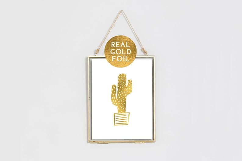 GOLD FOIL CACTUS  Gold Foil Print  Cactus Print  Gold Foil image 0