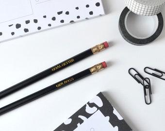 Girl Boss Black Pencil - Goal Getter Black Pencil - Black Pencils - Engraved Pencil - Productivity Stationery - Positive Motivational Quotes