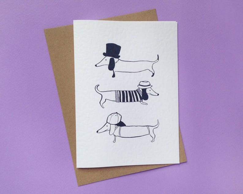 DACHSHUND  Sausage Dog Card  Dog Card  Pet card  Dogs image 0