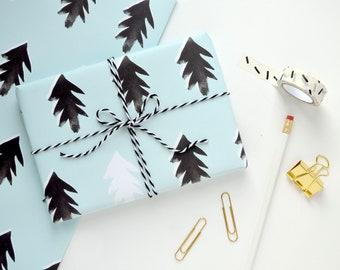 Scandi Print Wrapping Paper - Nordic Print - Christmas Tree Gift Wrap - Eco Wrapping Paper - Christmas Tree Gift Wrap - Mint Green Paper