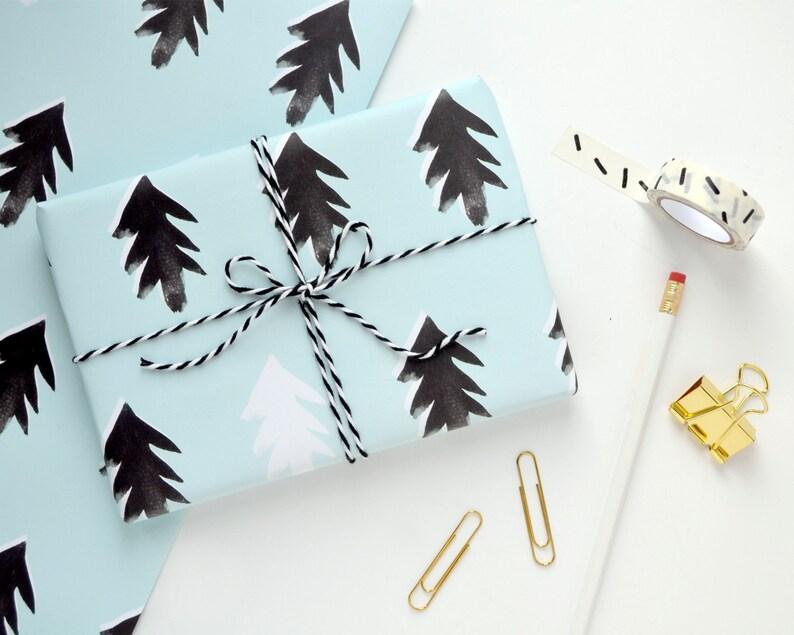 Scandi Print Wrapping Paper  Nordic Print  Christmas Tree image 0