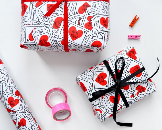 Love Heart Wrapping Paper Valentine S Gift Wrap Etsy