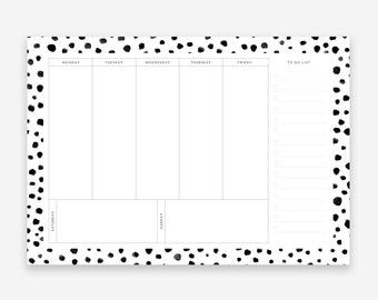 A4 Week Planner - Weekly Desk Planner Pad - Productivity Planner - Desk Pad - School Planner - Food Planner - Work Planner