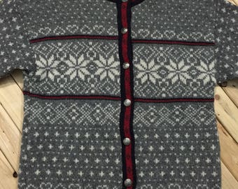 L.L. Bean Wool Cardigan with Graphic Design