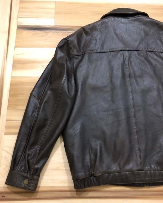 1980s Perry Ellis Leather Bomber Flight Jacket - image 8
