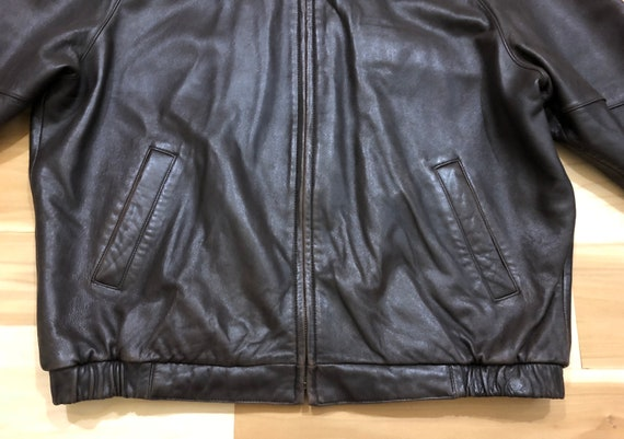 1980s Perry Ellis Leather Bomber Flight Jacket - image 4