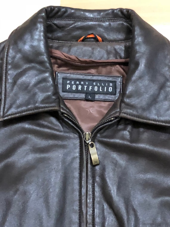 1980s Perry Ellis Leather Bomber Flight Jacket - image 3