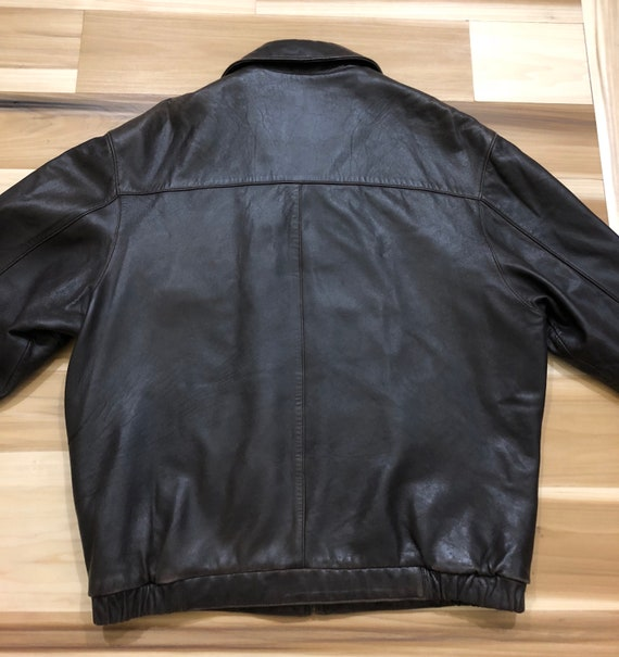 1980s Perry Ellis Leather Bomber Flight Jacket - image 7