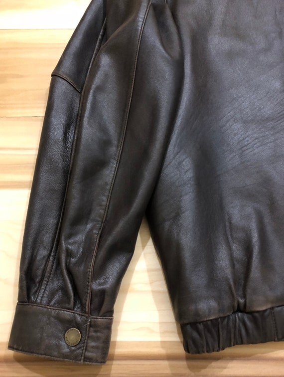 1980s Perry Ellis Leather Bomber Flight Jacket - image 9