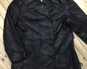 Lambskin Leather Double Breasted Coat