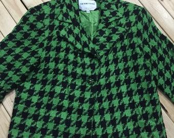 Victor Costa Lime Green Houndstooth Blazer