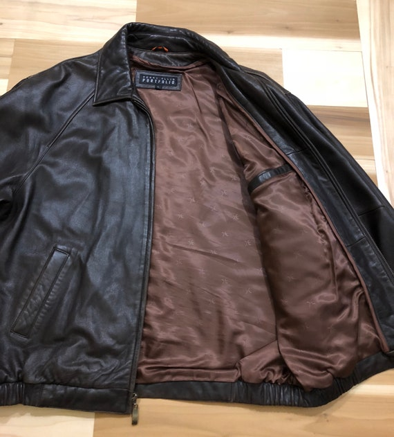 1980s Perry Ellis Leather Bomber Flight Jacket - image 1