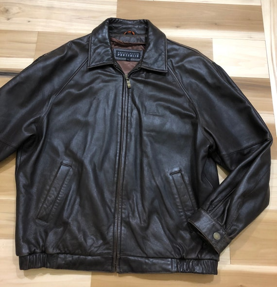 1980s Perry Ellis Leather Bomber Flight Jacket - image 10