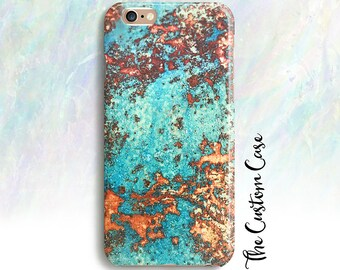 Turquoise Stone Phone Case, Copper with Turquoise Patina Phone Case, Rustic Oxidized Metal Phone Case, Iphone X, Iphone 8, Galaxy Note 8