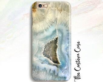 Blue Geode Phone Case, Blue Agate Phone Case, Blue Gemstone Case, Geode Crystal Phone Case, Blue and Grey Crystal Phone Case, Iphone X Case