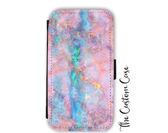 Pink Opal Wallet Phone Case, Soft Pink and Turquoise Opal Stone Flip Case, Pastel Stone Wallet Case, Samsung Wallet Case, Iphone X