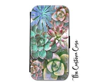 SUCCULENT Wallet Phone Case, Cactus Phone Case, Beautiful Succulents, Cactus, Floral Phone Case, for Samsung Galaxy Wallet Case, IPhone X