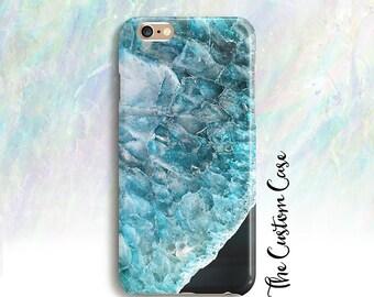 Turquoise Gemstone Phone Case, Blue Crystal Phone Case, Geode Case,  Iphone 6/6+/7/7+, Galaxy S5/S6/S7/S8/S8 PLUS