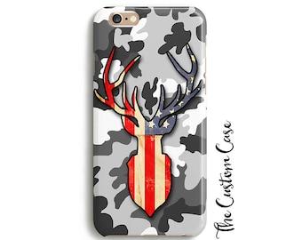 Deer Phone Case, Stag Trophy Head, Patriotic Hunter Phone Case, Deer on Camo Phone Case, Iphone 8 case, iPhone X case, Iphone 8 plus case