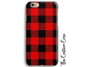 Buffalo Plaid Phone Case, Winter Plaid Iphone Case, Red and Black Plaid, Samsung Case, Iphone X Case, Iphone 8 / 8+, Monogram Plaid