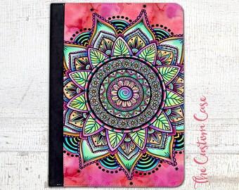 Mandala Watercolor Ipad Case, Boho Mandala Doodle Ipad Case, Geometric Ipad Cover, Ipad 2/3/4 Case, Ipad Air Case, Ipad Mini 1/2/4Case