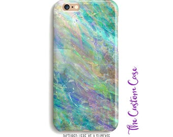 Opal Phone Case, Soft Opal Stone Phone Case, Soft Pastel Stone Phone Case, Turquoise and Lavender Case, Pastel Marble Case