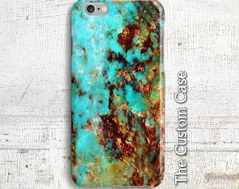 Iphone 8, Turquoise Stone Phone Case, Turquoise and Rust Phone Case, Galaxy Note 8, Turquoise Marble, Turquoise Gemstone