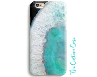 Turquoise Gemstone Phone Case, Ocean Blue Agate Phone Case, Geode Case, Geode Phone Case, Geode Crystal, Turquoise Crystal Phone Case, Boho