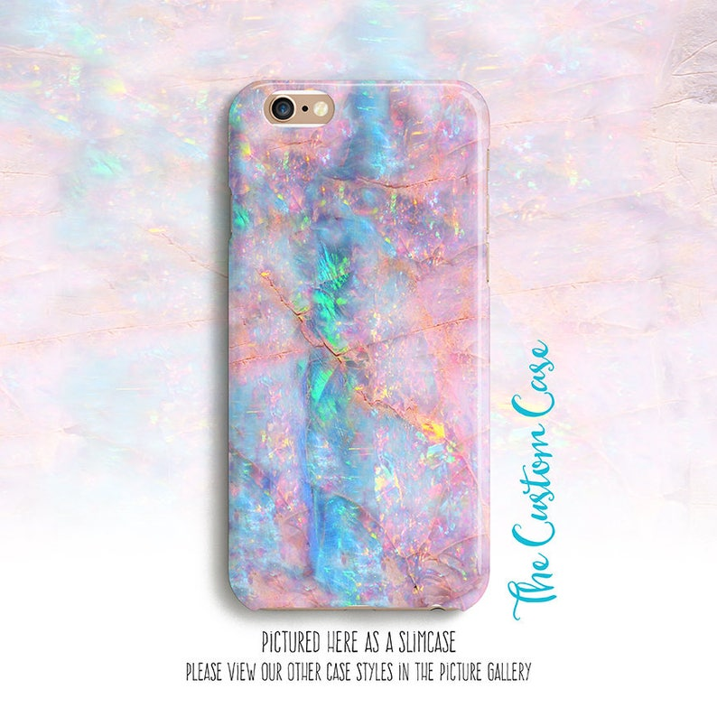 Printed Pink Opal Phone Case Pink and Turquoise Opal Stone image 1