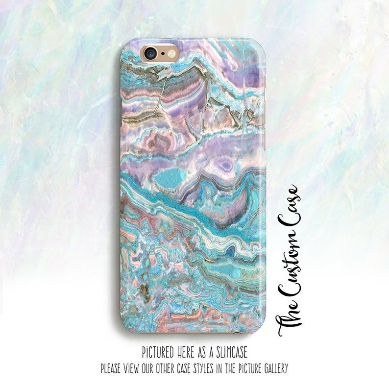 competitive price 63e26 b477e Marble Phone Case, Blue Agate Phone Case, Gemstone, Pastel Agate Stone  Phone Case, Turquoise and Purple Agate Stone, Marbleized Phone Case