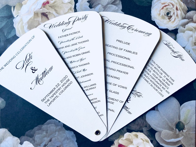 Wedding Program Petal Fan- Venetian- Quantity 25