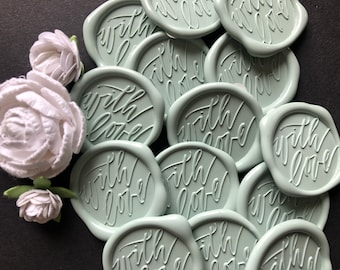 """Silver Sage """"With Love"""" Adhesive Wax Seal- Set of 25      Designed by Saffron Avenue"""