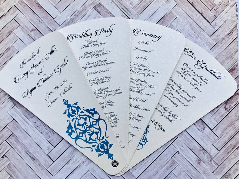 Wedding Program Petal Fan- Slate Blue Flourish- Quantity 25