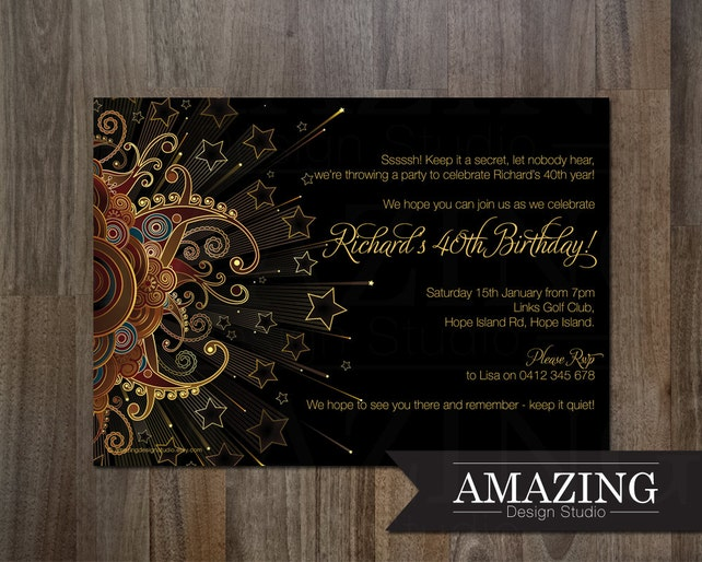 10x 40th Theme Birthday Party Invitations Invites Kids Adults Men Women Cards Xmas