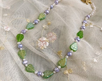 Philodendron Leaf and Pearl Handmade Choker Necklace