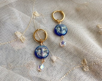 Old Man of the Moon and Star Gold Huggie Hoop Drops
