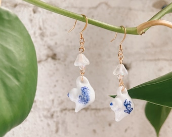 Blue Floral China Teapot Earrings