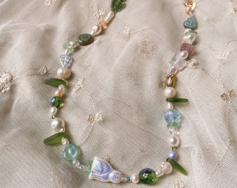 Sectet Garden Handmade Pearl and Glass Beaded Necklace