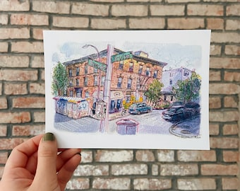 The Corner of Irving and Troutman, Brooklyn Ink and Watercolor Matte Art Print