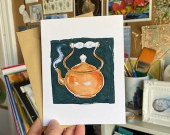 Copper Tea Kettle Blank Greeting Card