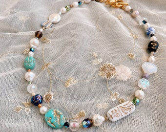 The Night at the Museum Beaded Pearl and Glass Choker