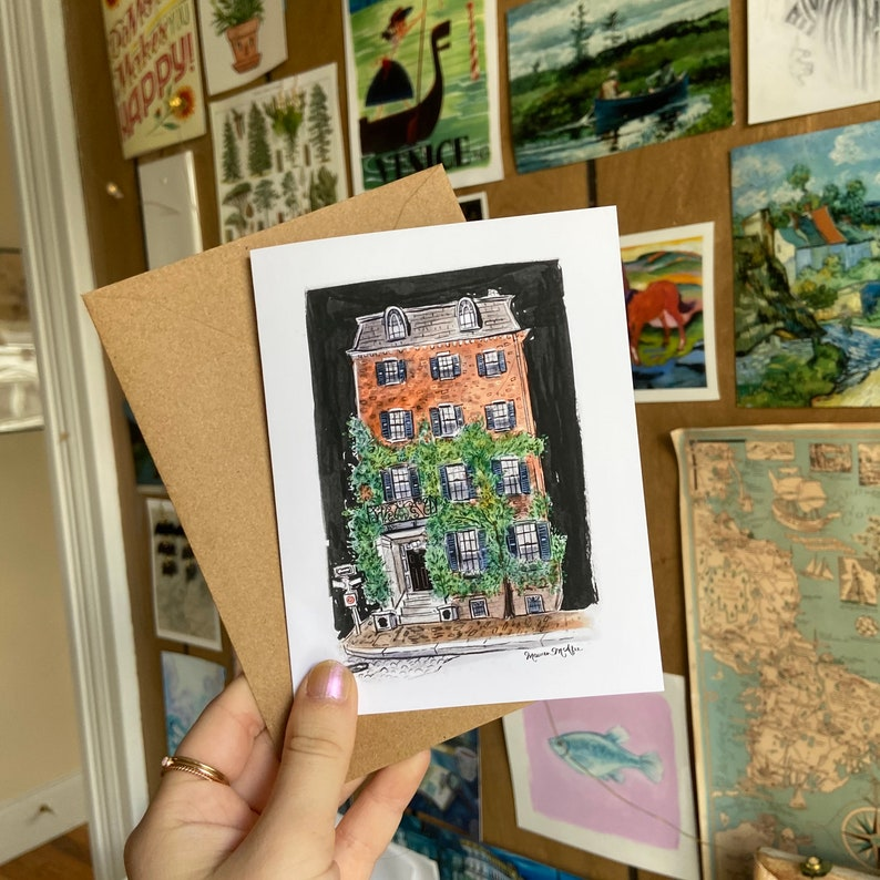 Beacon Hill Townhouse Blank Artist Greeting Card Notecard With Envelope Single or Set