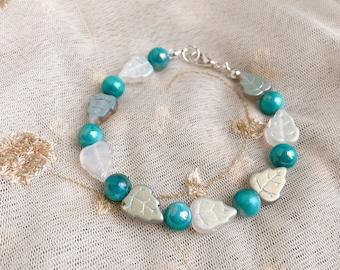 Elsa Beaded Winter Leaf Handmade Bracelet