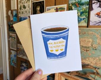 New York Blue Greek Cofee Cup Blank Greeting Cards Single or Set