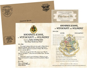 Personalized Witchcraft and Wizardry Acceptance Letter, Supply List, Train Ticket and Envelope, Perfect Gift for your Wizard