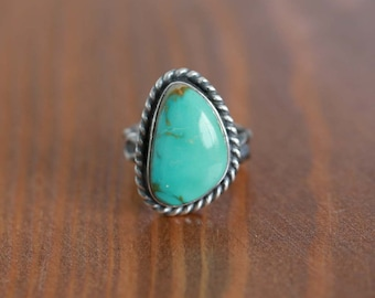 Royston Turquoise Ring, Sterling Silver Ring -- US Size 6