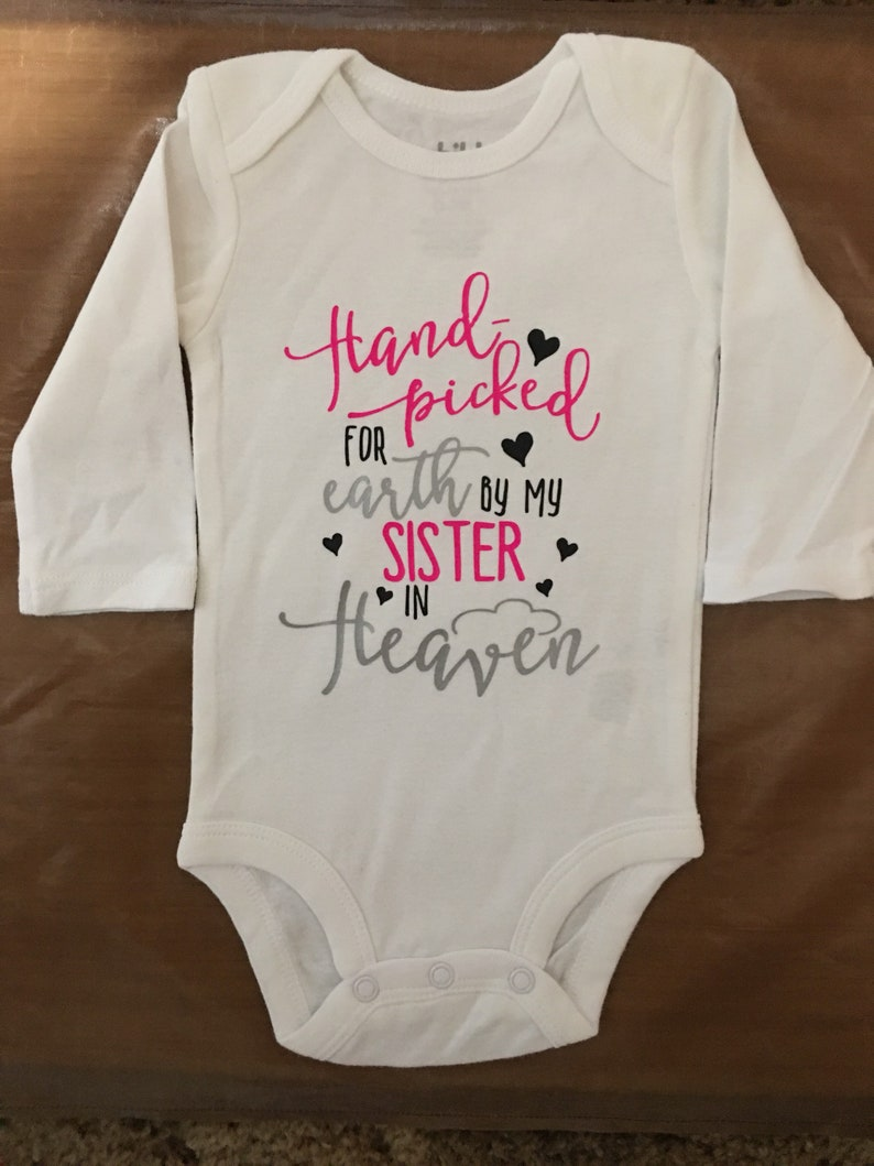 419364398 Hand picked for earth by my grandma in heaven onesie Sister /   Etsy