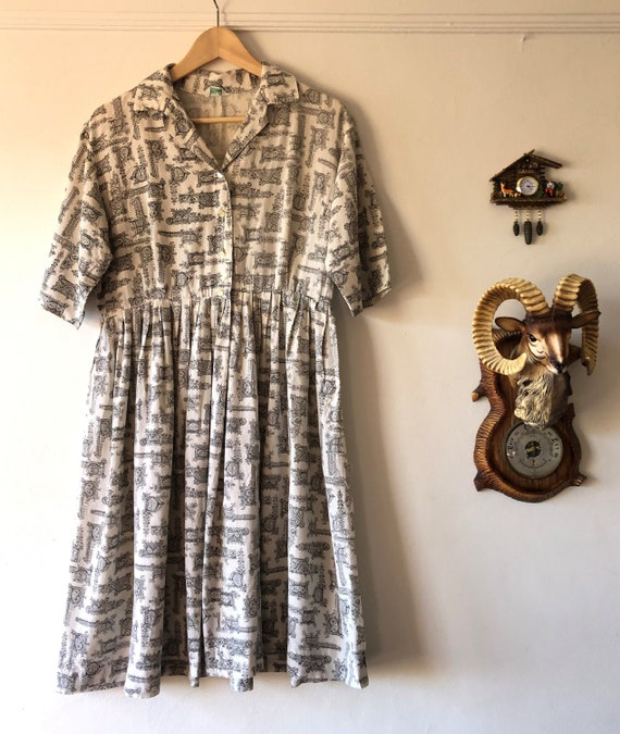 1950s Novelty Print Summer Day Dress - size large