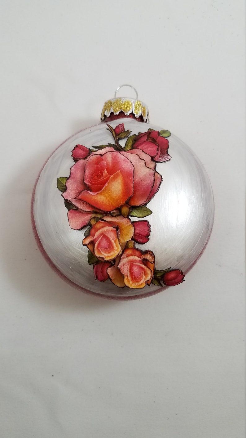 Rose Christmas Tree Ornament Unique Ornaments Collectible Ornament Rose Ornament Christmas Tree Decor Rose Decor