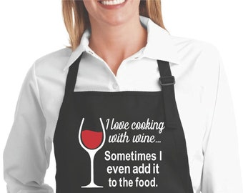 Wine apron hostess gift. Wine not embroidered black apron
